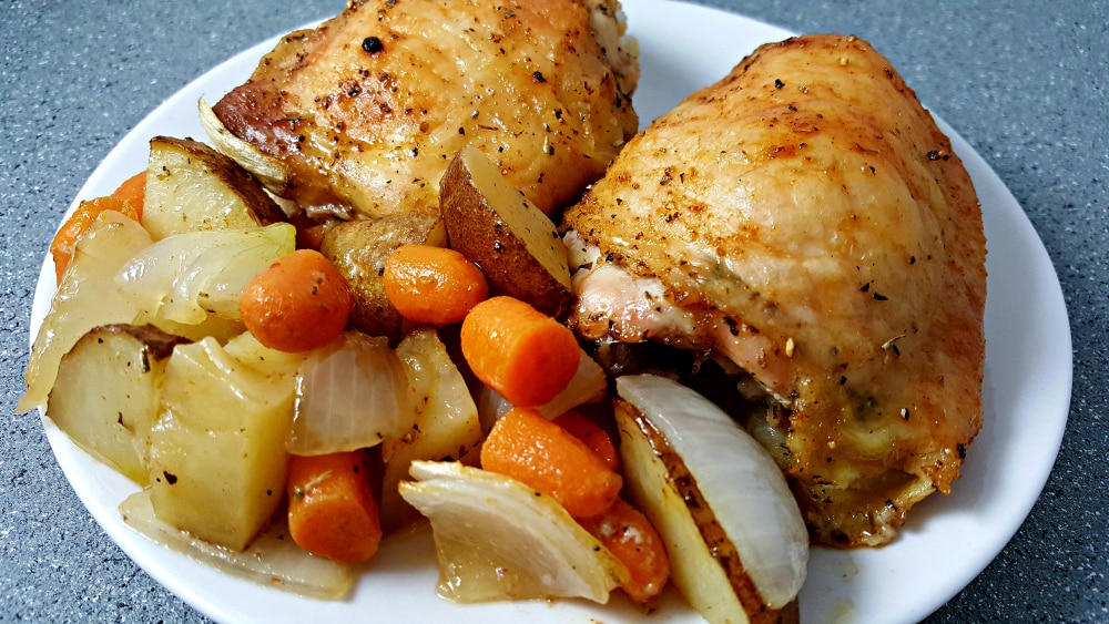 One Pan Roasted Chicken and Veggies Recipe